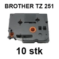 Brother Tape TZ 251 sort tekst p� hvid tape 24mm x 8m tape kompatibel (10 stk)